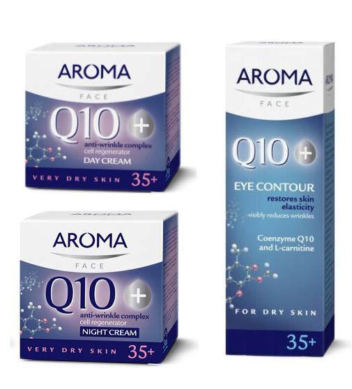 Aroma Q10  Day Night Face Cream Eye Contour Very DRY Skin Anti-Wrinkle Age 35+ - $12.38 - $12.82
