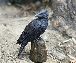 Dark Raven Crow Perched On Tree Stump Collectible Figurine Lifelike Colo... - £14.42 GBP