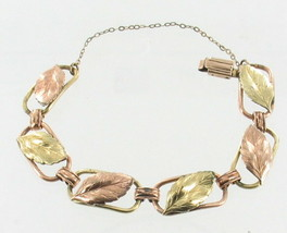 Vintage 12KT GF Gold Filled Rose & Yellow Gold Link Bracelet Probst 6.25... - $56.69