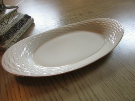 "LENOX CHINA OVAL SERVING TRAY 13.5"" BASKET WEAVE PATTERN MADE IN USA IVORY - $22.72"