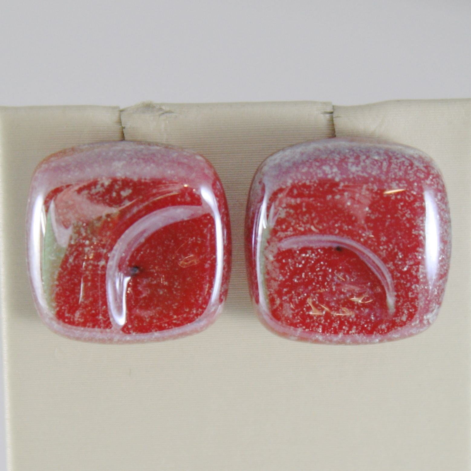 EARRINGS ANTICA MURRINA VENEZIA WITH MURANO GLASS RED AND SILVER OR530A11