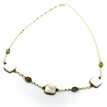 """18K YELLOW GOLD NECKLACE OVAL CHAIN, TOURMALINE DROPS, MOTHER OF PEARL, 18"""" image 2"""