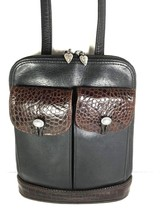 Brighton Vintage Small Black Leather with Brown Reptile Print Trim Shoul... - $41.70