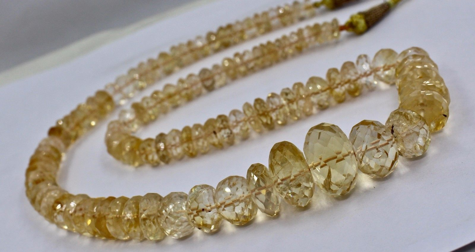 NATURAL YELLOW CITRINE BEADS FACETED ROUND 1 LINE 530 CARATS GEMSTONE NECKLACE