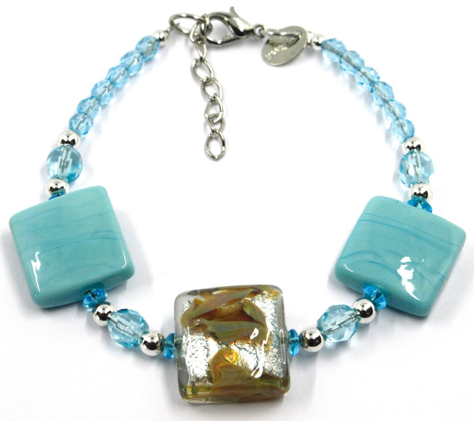 """BRACELET WITH AZURE MURANO SQUARE GLASS & SILVER LEAF, MADE IN ITALY, 19cm, 7.5"""""""
