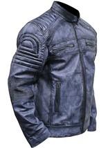 Mens Cafe Racer Biker Distressed Blue Motorcycle Leather Jacket image 2