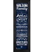 """Personalized Memphis Grizzlies """"Family Cheer"""" 24 x 8 Framed Print - $39.95"""