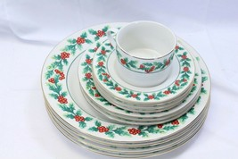 Gibson Xmas Greeting Holly Plates Saucers Cup Lot of 12 - $48.99