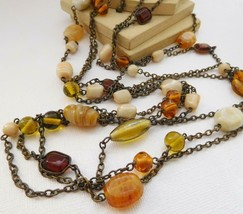 Retro Earth Tone Cream Yellow Amber White Gemstone Layer Bead Chain Neck... - $18.50