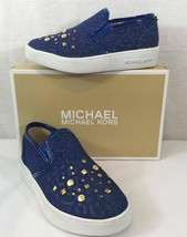 NWB Authentic Michael Kors Shoes For Girl, Dark Blue Denim/ Gold Studs s... - $30.67
