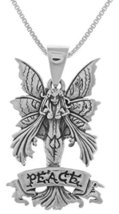 Jewelry Trends Sterling Silver Amy Brown Peace Fairy Pendant on 18 Inch ... - $43.99