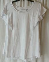 Isaac Mizrahi Live! Flutter Sleeve Knit Tunic w/ Lace Trim White Large L  - $9.90