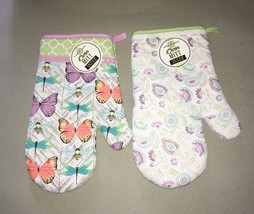Oven Mitt Mitts Set of 2 100% Cotton New Paisley Lace edged Butterflies ... - $22.65