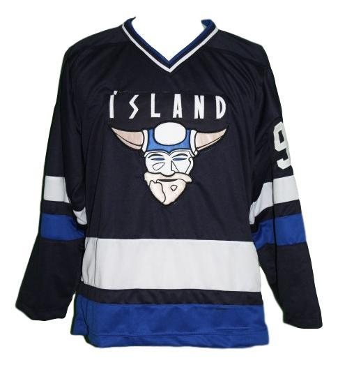 Custom Name # Island Iceland Retro Hockey Jersey New Navy Blue Stahl #9 Any Size