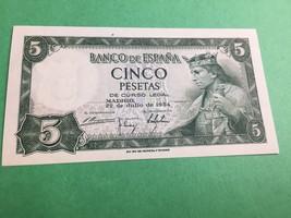 1954 SPAIN 5 PESETAS DATED 22-7-54 UNCIRCULATED - $18.54