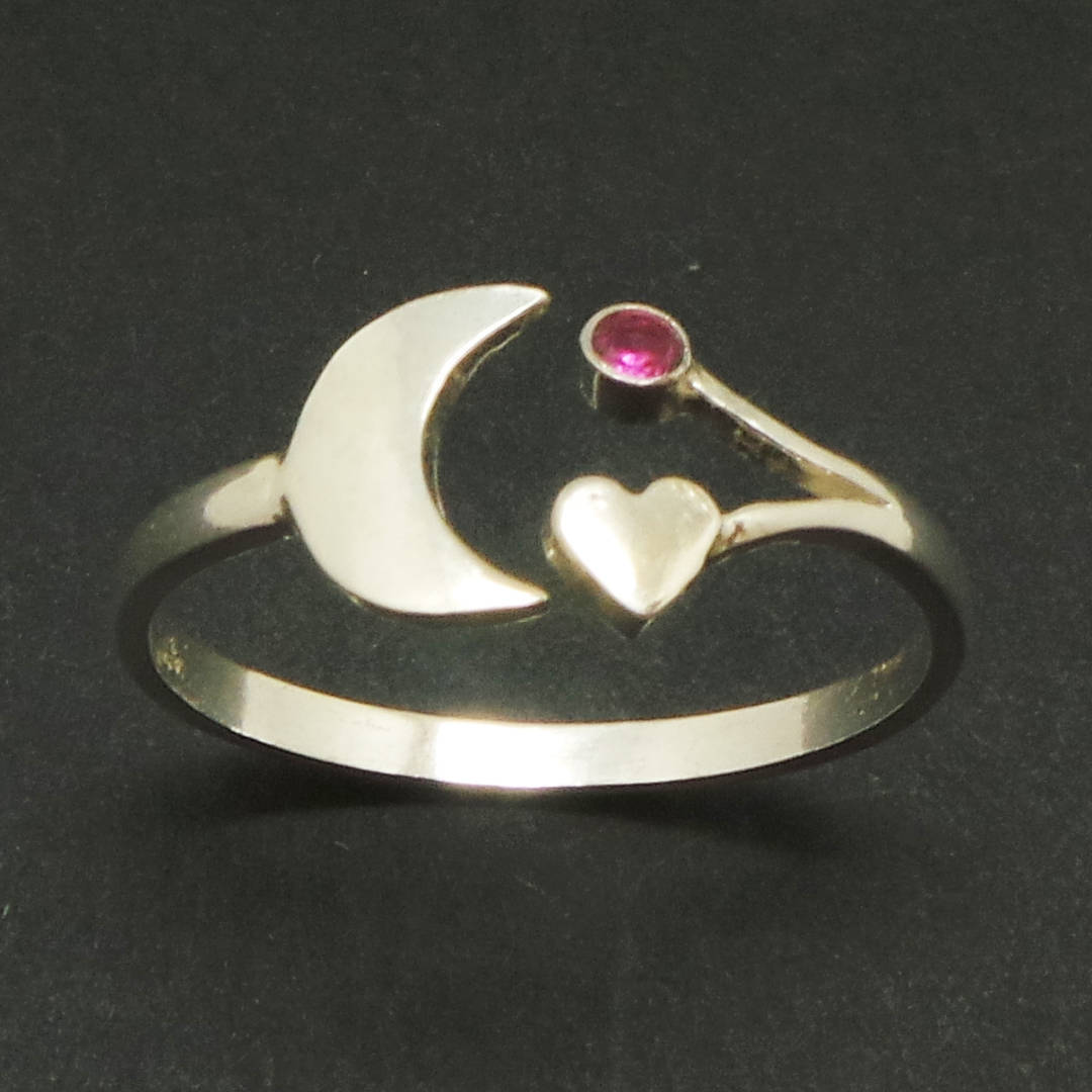 Primary image for Handmade 925 Sterling Silver Crescent Moon and Heart Ring