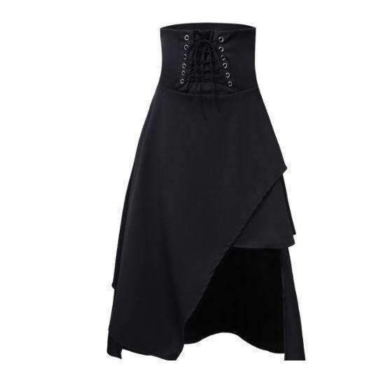 Gothic High Waist Asymmetric Black Women Long Skirt