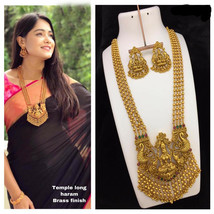 Bollywood Indian Gold Plated Necklace jewelry wedding Long Haram Jewelry... - $84.55