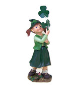 Irish Leprechaun Girl Statue Figurine Green Lucky Lassie Clover shamrock - $27.95