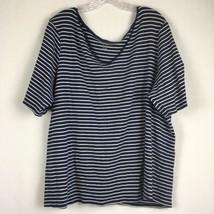 Lane Bryant Pretty & Perfect Navy Blue Striped Short V-Neck Shirt Size 26/28 - $25.25