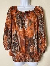 Rafella Studio Womens Size M Paisley Pattern Blouse 3/4 Sleeve - $12.56