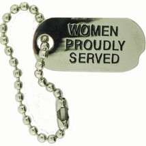 WOMEN PROUDLY SERVED DOG TAG CHAIN STUD BACK HAT PIN - $13.53