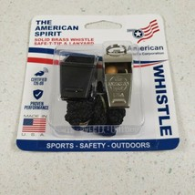 American Whistle Solid Brass Whistle W/SafeT-Tip & Lanyard New Sealed - $5.57