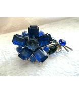 "Vintage Flower Blue Green Bevel Glass Prong Set  Silver Tone 2.75"" Pin B... - $29.69"