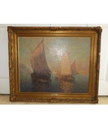 Listed Artist Carl Muller (Austria 1862-1938) Venetian Sails large Oil o... - $1,400.00