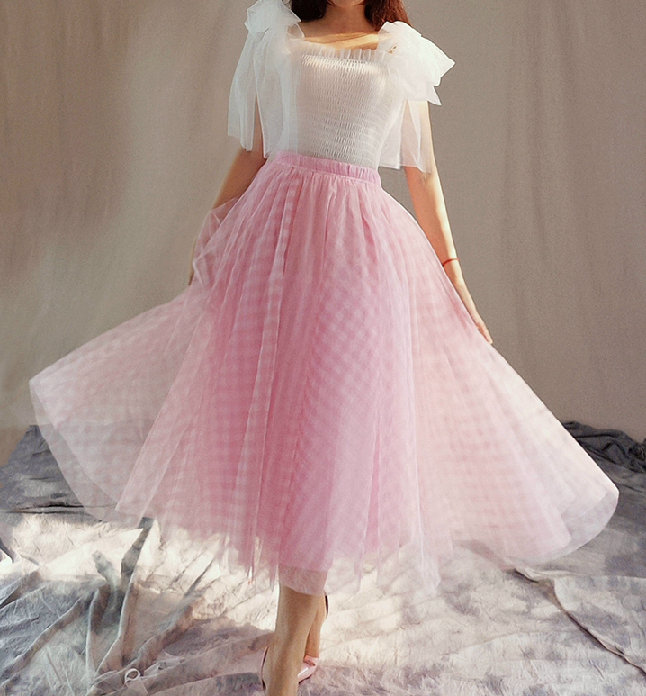 Tulle skirt pink plaid 6