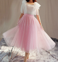 Women Pink Plaid Skirt A Line Long Plaid Skirt Pink Tulle Skirt image 3