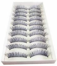 10 Pairs Handmade Long False Eyelashes BLUE & BLACK Fashionable Fake Eyelashes