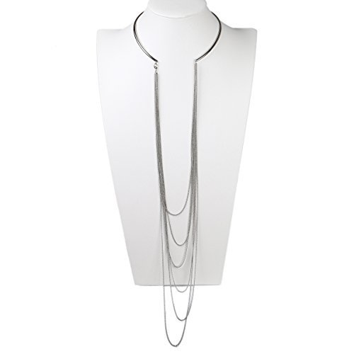 UE-Trendy & Unique Silver Tone Multi Strand Designer Choker Necklace Combination