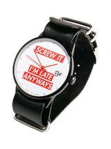 Cheapo Screw It I'm Late Anyways Black Leather Strap 14227M Analog Wrist Watch
