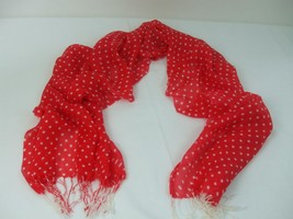 "Red with White Polka Dots Semi Sheer Scarf Shawl Soft Feel 3.5"" fringe 7... - $14.99"