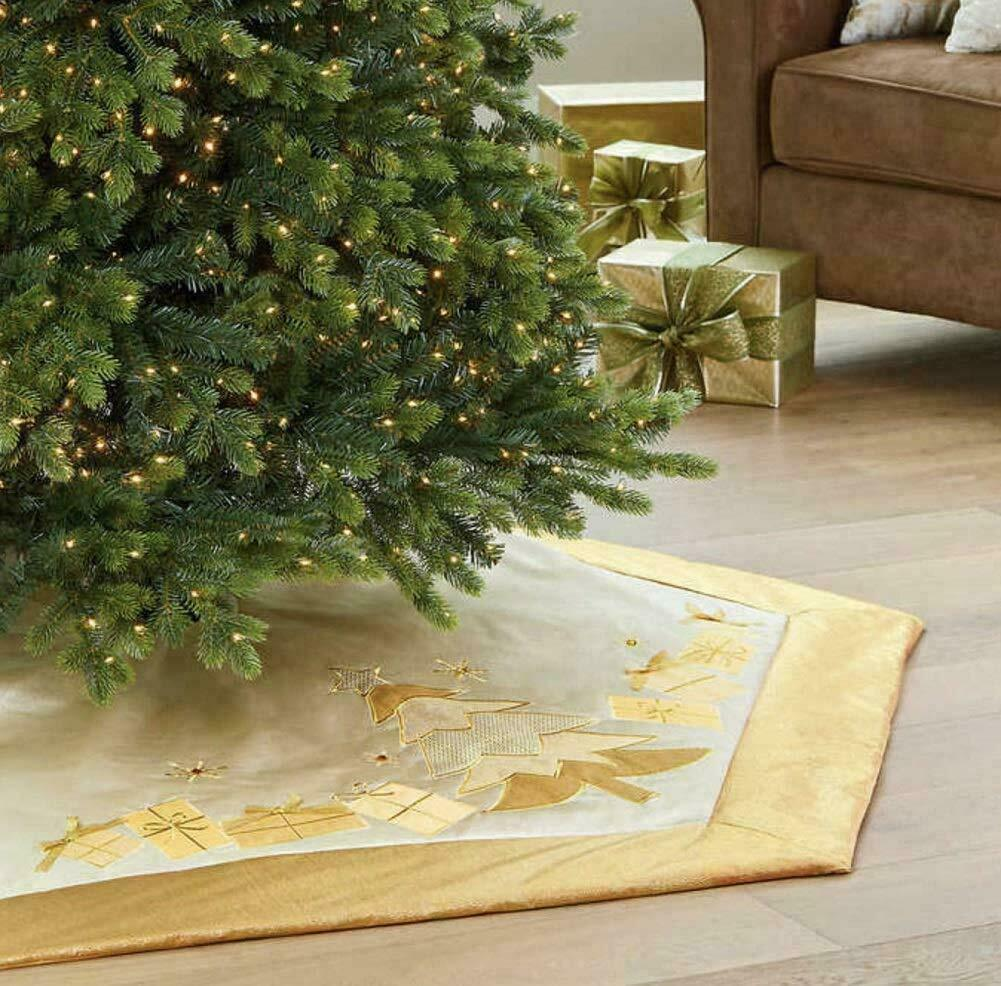 Adjustable Luxury Christmas Tree Skirt Gold w Satin Trees Gifts & Velvet Border