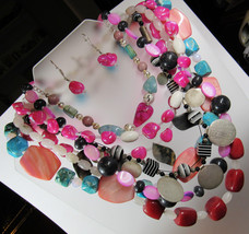 HUGE 1 POUND Lot Pink Red Blue Stone Toggle Clasp Beaded Necklaces Earrings WOW! - $26.72