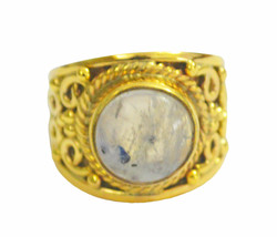 charming Rainbow Moonstone Gold Plated White Ring Natural jewellery US gift - $12.99