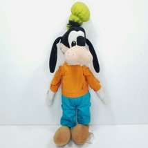 Disney Store Goofy Plush Stuffed Animal Orange Shirt Blue Pants Green Ha... - $15.83