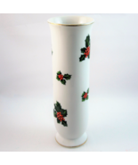 "Lefton 7942 porcelain Christmas Holly pattern 6.25"" bud vase gold trim  - $13.89"