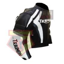 TRIUMPH BLACK & WHITE COWHIDE LEATHER MOTORBIKE MOTORCYCLE BIKER ARMOURE... - $209.99