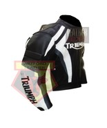 TRIUMPH BLACK & WHITE COWHIDE LEATHER MOTORBIKE MOTORCYCLE BIKER ARMOURED JACKET - $209.99