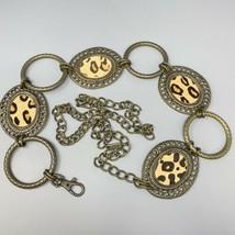 Statement Belt CHICO'S Animal Print Metal Adjustable Chain Link PONY HAI... - $25.64