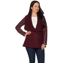 H by Halston Sweater Knit Collar Jacket with Leather Sleeves, Size 14, M... - $89.09