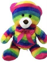 "MTY International Rainbow Bear 16"" Plush Pink Bow Ribbon - $26.68"