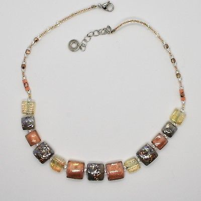 NECKLACE ANTIQUE MURRINA VENICE WITH MURANO GLASS YELLOW AND GREY ADJUSTABLE