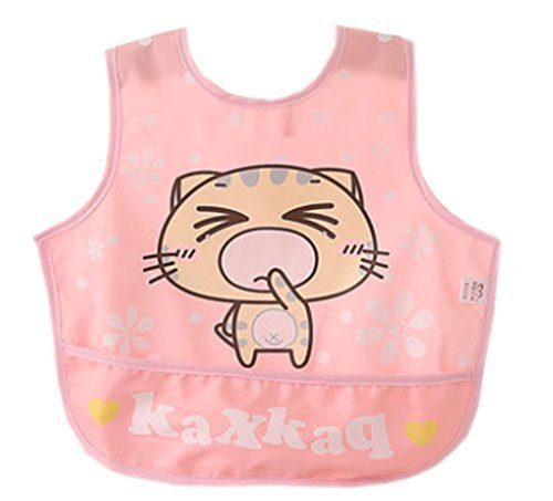 Lovely Cartoon Cat Waterproof PVC Feeding Baby Bibs Pink