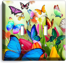 Butterflies Tulips Flowers Floral Light Switch 2 Gang Wall Plate Room Home Decor - $11.69