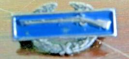 US Army infantry marksman rifle WW11 sterling silver/enamel award hat pin badge - $56.66