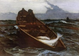 Fog Warning by Winslow Homer Big Fish Seascape Fishing Boat 36x22 Canvas Giclee - $296.01